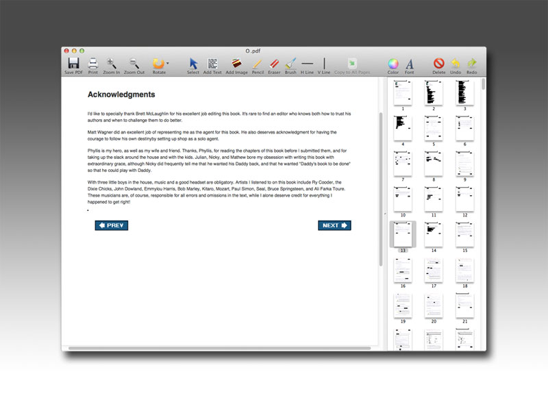 PDF Editor Mac is a OS X free application that allows users to add text, insert images, put watermarks to label their copyright, changing font size and color, and perform other editings of a PDF document.